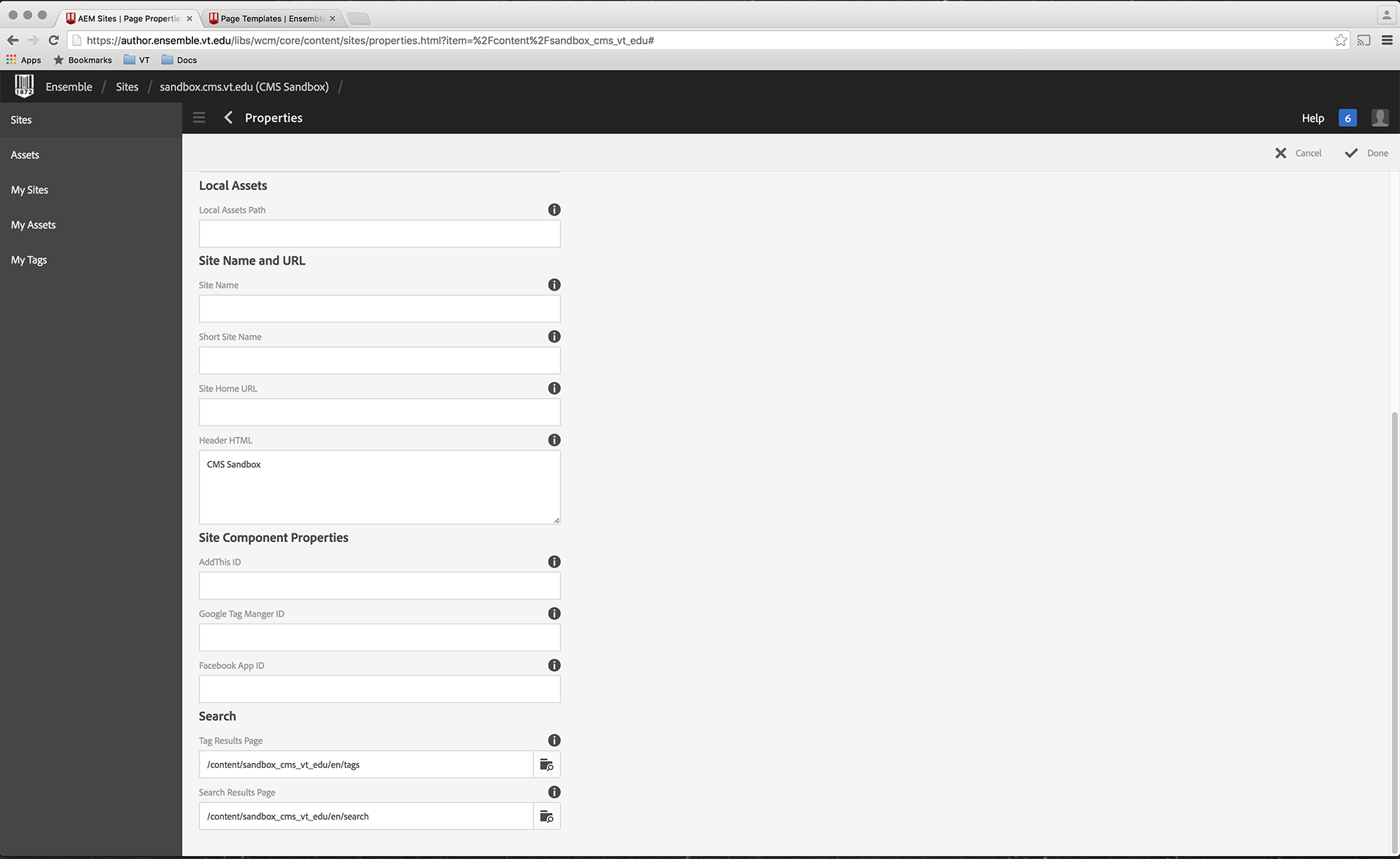 Site Configuration settings for custom search results page