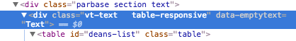 screen capture of the HTML code that precedes the table on this page showing the table-responsive class has been applied automatically